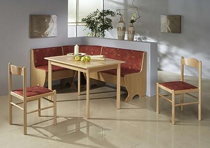 Dreams4Home Eckbankgruppe 'Rio' Essgruppe 159 x 119 x 79 cm Tisch 2 Stuhle modern Buche Dekor rot Eckbank Kuchentisch 4-teilig Landhaus Kuche