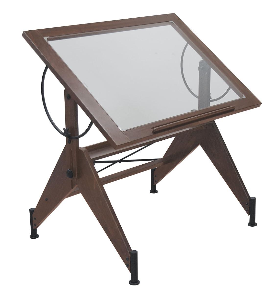 STUDIO DESIGNS Aries Glass Top Drafting Table Sonoma Dark Walnut Brown/Clear Glass 13310