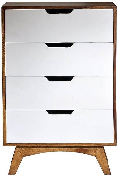 Sit-Möbel 7754-10 cómoda Sixties, acabado antiguo, 60 x 40 x 90 cm, blanco/marrón