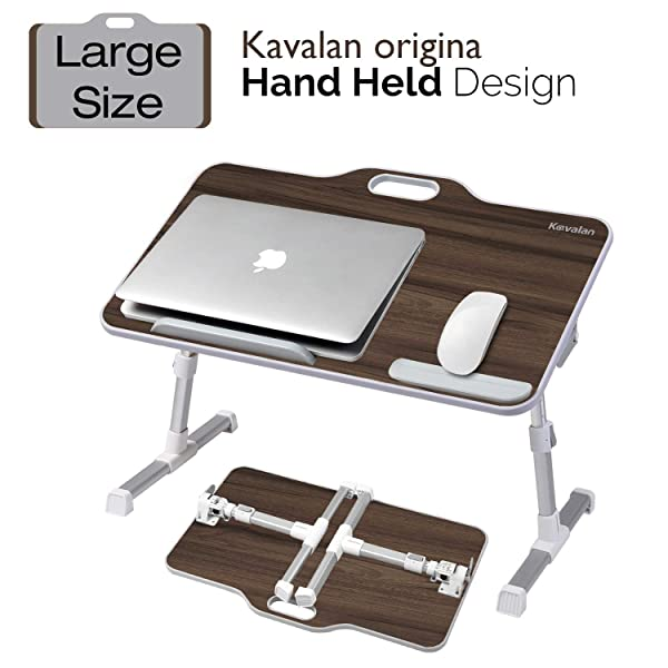 Kavalan Large Size Portable Laptop Table with Handle, Height & Angle Adjustable Sit and Stand Desk, Bed & Breakfast Table Tray, Foldable Notebook Stand Holder for Sofa Couch - Black Teak (Color: Black Teak Large)