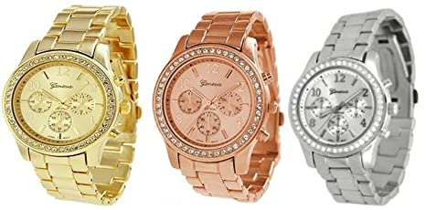 3-PACK-Geneva-Silver-Gold-and-Rose-Gold-Plated-Classic-Round-CZ-Ladies-Boyfriend-Watch