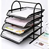 Caveen 4 Tiers Letter Trays Desk Organizer Black Mesh Paper Storage Document Organizer (Color: 4 Tiers, Tamaño: 4 tiers)