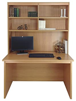 Home Office Furniture UK Computer Desk Table HUTCH Unit Kids Living Room, Wood, Classic Oak, Wood Grain Profile, 4-Piece