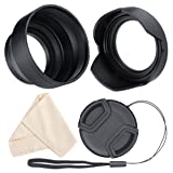 Lens Hood Set, Reversible Tulip Flower + 3 Stages Collapsible Rubber Lens Hood + Center Pinch Lens Cap with Cap Keeper Leash + Microfiber Cleaning Cloth (55MM) (Tamaño: 55mm)