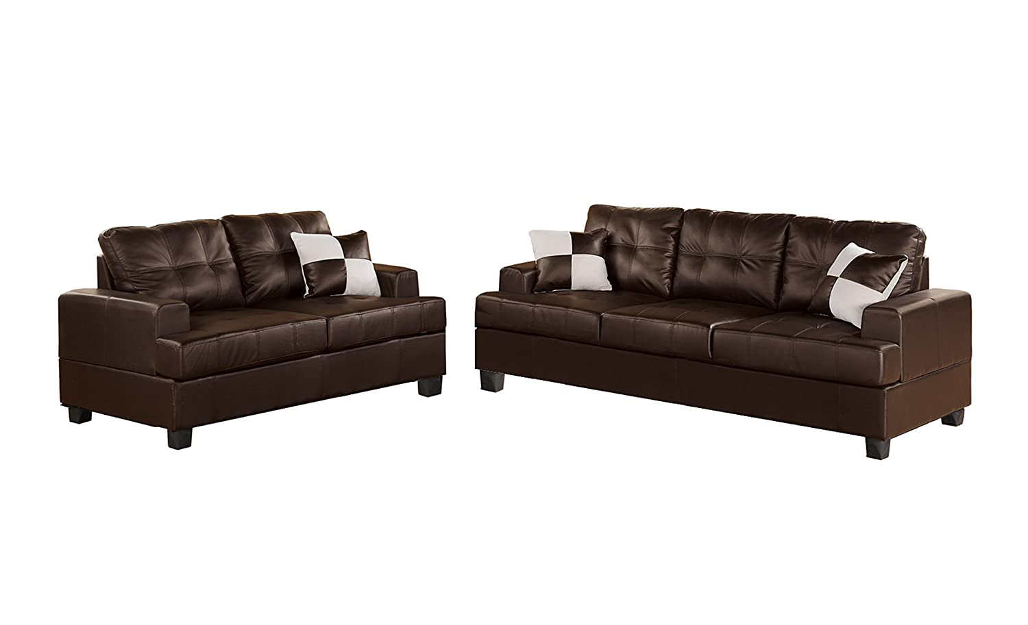 Leather 2 piece sofa loveseat set accent pillows living for Sofa and 2 chairs living room