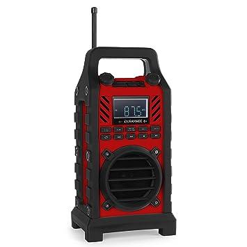 oneConcept 862-BT - radio de chantier Bluetooth avec lecteur USB SD MP3, entrée AUX et batterie intégrée (20 stations programmables, robuste, étanche) - rouge