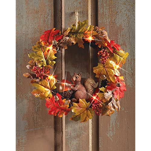 Autumn Squirrel Lighted Wreath Wall Decor