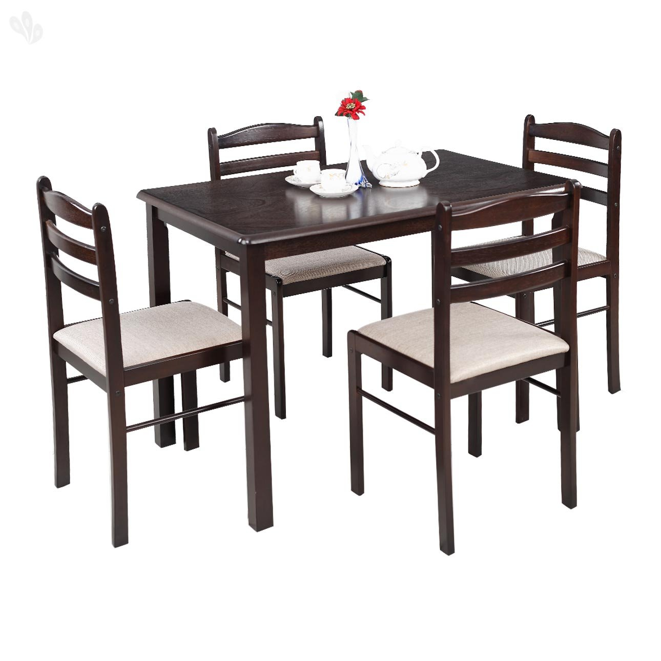 Royal oak hunter four seater dining table set dark brown for Kitchen set royal