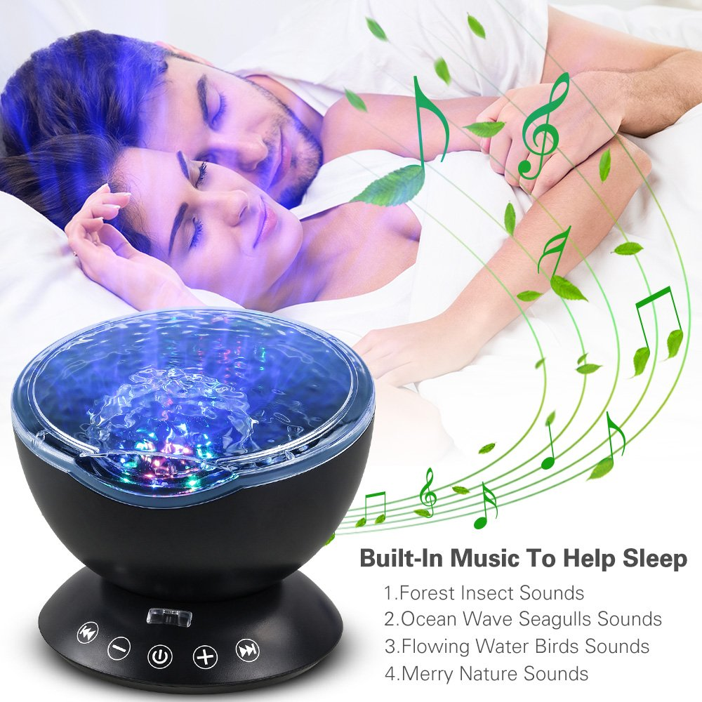 Ocean Wave Night Light, Komake Baby Night Light Projection USB Timer Bedroom Nursery Projector With Mini Music Player, Remote Control Rotating Goodnight Light For Toddler Kids Children Adults(Black)
