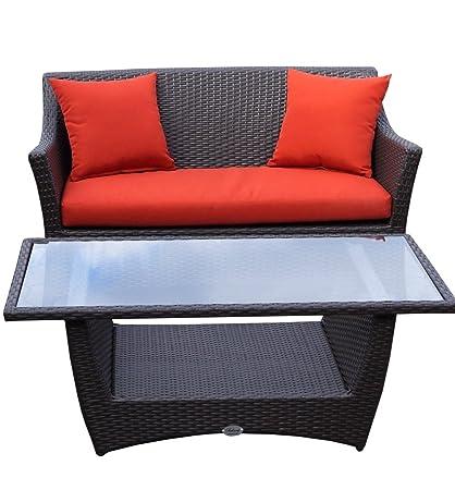 Rattan Lounge Set - Polyrattan Gartenmöbel Garnitur Sofa – Sitzgruppe mit hoher Lehne - braun - 10 cm Kissenauflage - rostfreies Aluminiumgestell - stabil - hervorragende Verarbeitung – top Qualität - preisgunstig (Sofa mit Tisch, Br