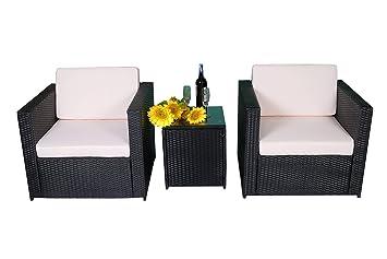 MCombo 3tlg Poly Rattan Gartenmöbel Sitzgarnitur Sitzgruppe Sofa
