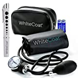 White Coat Deluxe Aneroid Sphygmomanometer Professional Blood Pressure Cuff Monitor with Adult Sized Black Cuff and Carrying Case Bonus LED Penlight with Pupil Gauge (Tamaño: Sphyg W Pen Light)