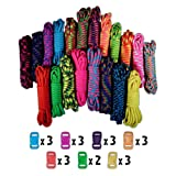 Craft County 550lb Type III Paracord Combo Crafting Kits with Buckles (Color: Big Neon)