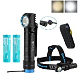 SKYBEN Olight H2R 2300 Lumens CREE XHP50 LED 18650 USB Rechargeable Flashlight/Headlamp for Outdoor Camping Hiking Running with Extra 18650 Battery Holster (Cool White) (Color: Cool White)