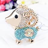Crystal Goat Sheep Coin Keychain Sparkling Keyring Crystal Rhinestones Purse Pendant Handbag Charm (Blue) (Color: Blue)
