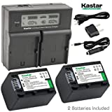 Kastar LCD Dual Smart Fast Charger & 2 x Battery for Sony NP-FV70, NP-FH70 and FDR-AX53, HDR-CX675, HDR-CX455, HDR-CX900, TD30V, HDR-PV710V, HDR-PJ670, HDR-PJ810, HDR-TD30V, FDR-AX33, FDR-AX100 (Tamaño: 2 batteries + 1 LCD dual charger)