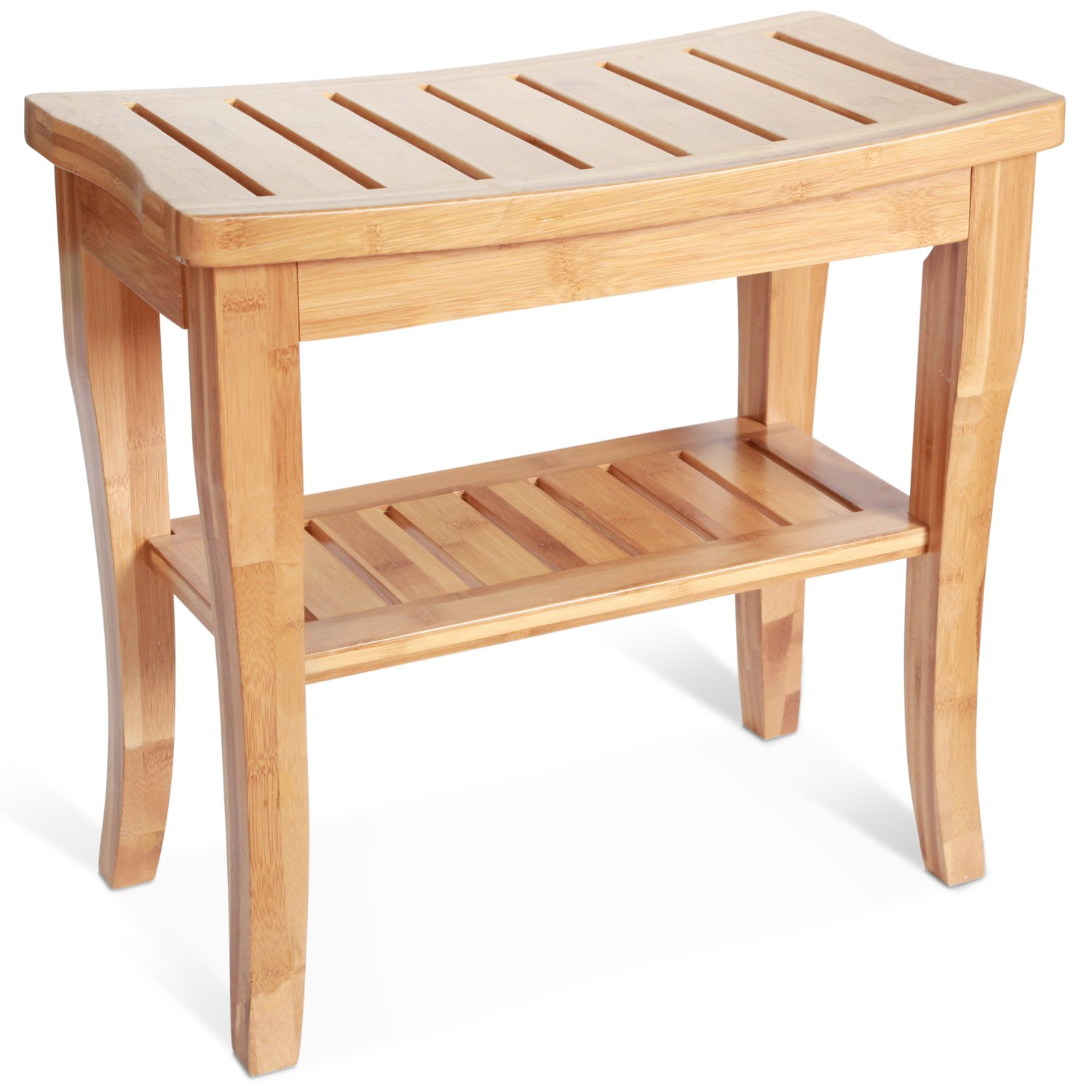 Deluxe Bamboo Shower Seat Bench With Storage Shelf