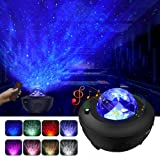 LBell Night Light Projector, 2 in 1 Ocean Wave Projector Star Projector w/LED Nebula Cloud for Baby Kids Bedroom/Game Rooms/Home Theatre/Night Light Ambiance with Bluetooth Music Speaker (Color: Remote Control Black)