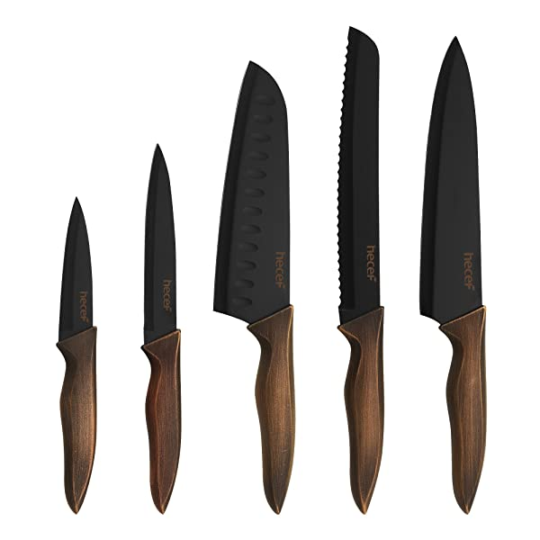 Hecef Kitchen Knife Set, Stainless Steel Non Stick Black Color Coating Blade Knives, Includes 8'' Chef Knife, 8'' Bread Knife, 7'' Santoku Knife, 5''Utility Knife and 3.5'' Paring Knife (Color: Black, Tamaño: 8 inch, 8 inch, 7 inch, 5 inch, 3.5 inch)