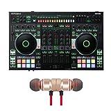 Roland DJ-808 4-Channel DJ Controller for Serato DJ Includes Free Wireless Earbuds - Stereo Bluetooth In-ear Earphones