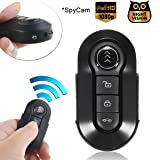 Bysameyee Car Key Spy Cam Full HD 1080P Remote Control Video Camcorder Mini Keychain Camera Hidden Recorder with Night Vision Motion Detection – Black Metal Body (Color: black)