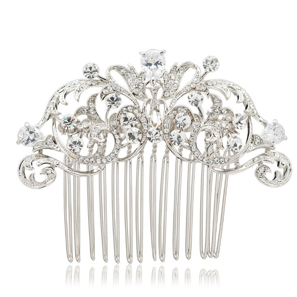 Sepjewelry 2253R Vintage Style CZ Rhinestone Hair Comb Pin Clip 0