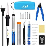 LDK Full Set 60W Soldering Iron Kit, Adjustable Temperature with 5pcs Different Tips, Desoldering Pump, Stand, anti-static Tweezers, Solder Tube, Screwdriver, Cutter and Carry Bag for Repaired Usage (Color: 13-in-1)