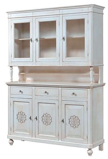 Cristalliera in legno finitura bianco invecchiato, 3 porte Intagliate, 3 cassetti e 3 ante in vetro