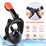 Full Face Snorkel Mask,180°Panoramic View with Detachable Camera Mount Free Breathing Dry Top Set Anti-fog Anti-leak -L/XL