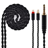 6 Core Silver Plated Earphone Cable, Black Upgrade 2PIN Detachable Earphone Cable Replacement Earphone Wire for KZ ZS10 ZS6 ZS5 ZSR ZST TRN V10 V20 TFZ (3.5mm Audio Jack, 2 Pin) (Color: 2 Pin, Tamaño: 3.5mm Audio Jack)