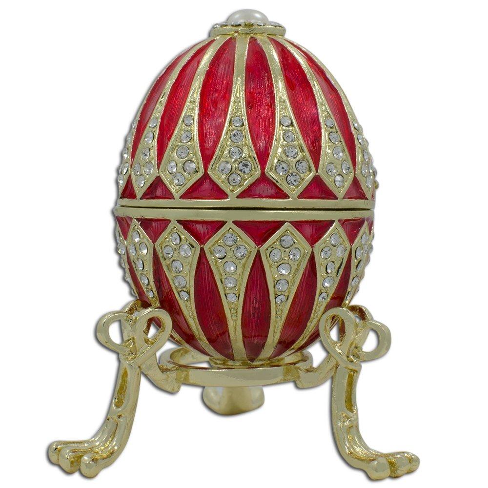 Royal Red Inspired Russian Egg - Enameled Jewelry Trinket Box Figurine