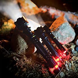 Highland Tactical LED Flashlights with Red Tail Emergency Flashers in Aluminum Case