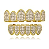 LuReen Gold Silver Two Tone Iced Out CZ Teeth Grillz Set with Molding Bars and Grillz Box (Grillz Set) (Color: Twotone set)