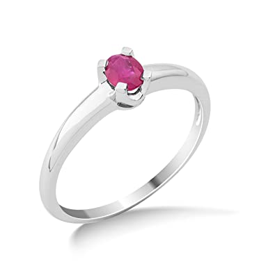 Miore 9ct White Gold Ruby Engagement Ring MG9129R