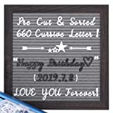 Felt Letter Board with Cursive Letters, Pre-Cut & Sorted 660 White&Black Letters, 10X10 Rustic Wood Frame Gray Letter Board, Changeable Letter Boards +Metal Stand +Sorting Tray +Wall Mount +Gift Box. (Color: Gray)