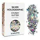 Silver Holographic Chunky Glitter ? COSMETIC GLITTER KARIZMA ? Festival Beauty Makeup Face Body Hair Nails