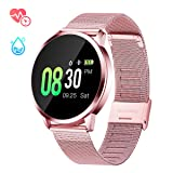 GOKOO Sports Smart Watch for Women with All-Day Heart Rate Blood Pressure Sleep Monitor IP67 Waterproof Activity Tracker Calorie Sport Running Counter Bluetooth Smartwatch Fitness Tracker (Pink) (Color: Pink)