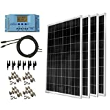 WindyNation 400 Watt Solar Kit: 4pcs 100 Watt Solar Panels + 30A P30L LCD PWM Charge Controller + Mounting Hardware + 40ft Cable + MC4 Connectors. RV's, Boats, Cabins, Camping Off-Grid (Tamaño: 400W Solar Kit)
