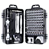 Gocheer Mini Precision Screwdriver Set, 115 in 1 Magnetic Screwdriver Bit Set with Case for iPhone, Computer, PC, Watch, Glasses, Electronics, Mini DIY Hand Work Repair Tools (Color: Silver and black)