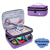 Luxja Double-Layer Sewing Supplies Organizer, Sewing Accessories Organizer for Needles, Thread, Scissors, Measuring Tape and Other Sewing Tools (Bag Only), Purple (Color: Purple, Tamaño: Large)