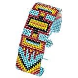 Karmas Canvas Aztec Bead Detailed Snap Button Bracelet (Lt. Blue)