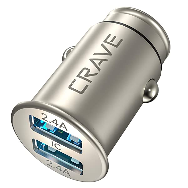 Crave Bullet 24W 4.8A 2 Port Dual USB Zinc Alloy Universal Compact Car Charger, Smart Charge IC Technology (Color: Metallic)