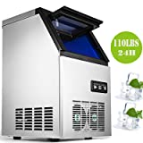 Happybuy Commercial Ice Maker Built-in Stainless Steel Commercial Ice Machine Maker 110V Under Counter/Freestanding/Portable Automatic Ice Machine for Restaurant Bar Cafe (110lbs/24h) (Color: Portable Ice Maker 110LBs/24H, Tamaño: 110LBs/24H)