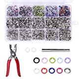 200 Sets Snap Fasteners Kit Tool, Metal Snap Buttons Rings with Fastener Pliers Press Tool Kit for Clothing 10 Colors 9.5mm by Craftsman (Color: multicolor, Tamaño: 200 sets)