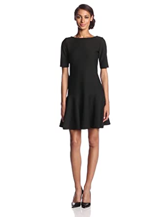 Isaac Mizrahi Women's Elbow Sleeve Icon Boat Neck Dress, Black, 4