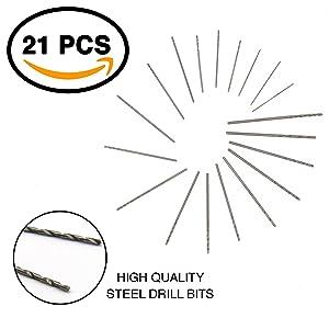 Ram-Pro 21 Pieces Mini Drill Bit Set - Twist Drills Set with Plastic Case Mini Clamp Table Bench Hand Drill Mini Micro Hand Adjustable Pen Drill & hand drill set