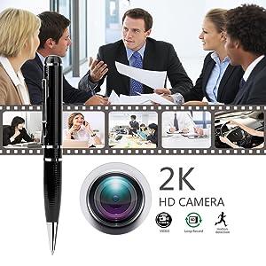 Hidden Spy Camera - Pen DVR Cam 1296P 32G Video Recording Pen OV4689 Full Real 2K Low Illumination 1080P Pen Camera Hidden Security Camera (Color: black)