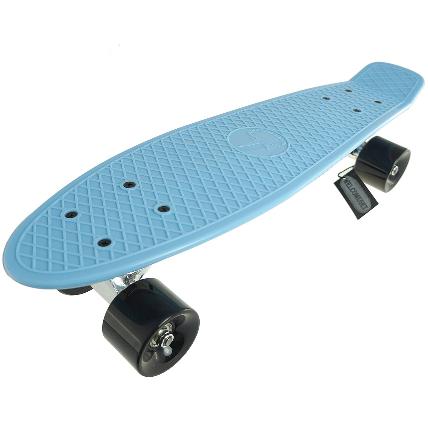 Welcomeget Complete Plastic Skateboard Fish Cruiser Standard Board Blue Deck complete skateboard set chocolate deck