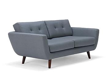 massivum Sofa Retro 168x81x96 cm Flachgewebe-Stoff grau