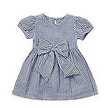 Cenhope Infant Baby Girls Striped Bowknot Short Sleeve Princess Dress (Blue, 0-6 Months) (Color: Blue, Tamaño: 0 - 6 Months)
